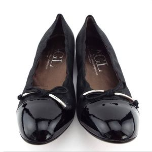 NIB AGL Black Leather Ballet Cap Toe Flats 39.5